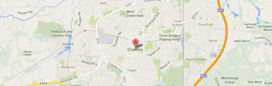 Map of Crawley